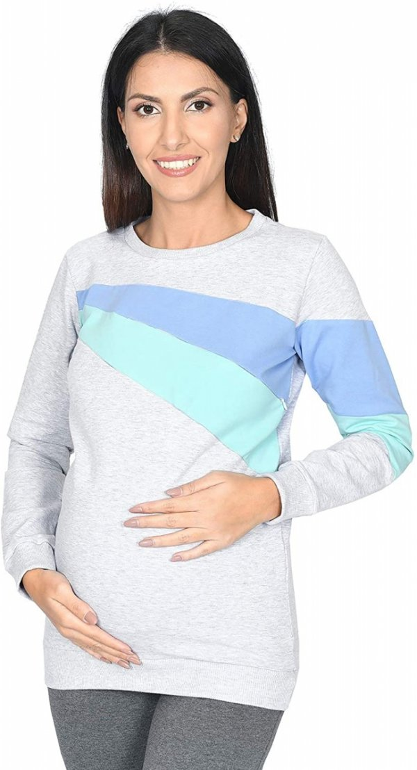 """Funkcjonalna bluza ciążowa i do karmienia """"SKY"""" 9086 melanż/niebieski/mięta1"""