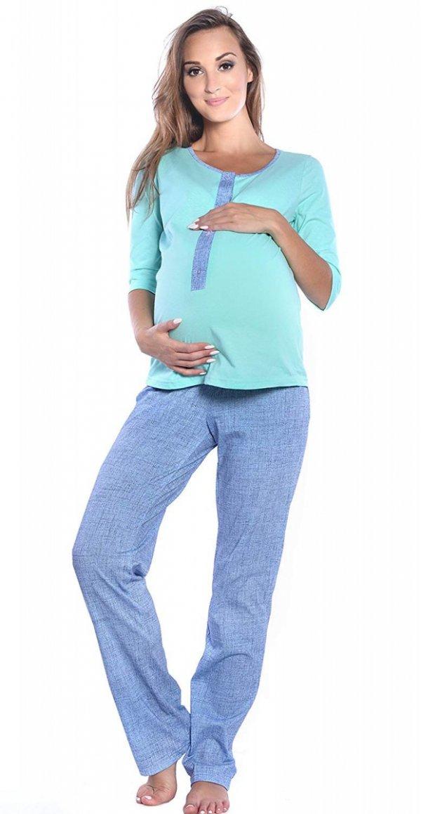 3 w 1 piżama ciążowa i do karmienia 4054/M52 mięta/ niebieski 3