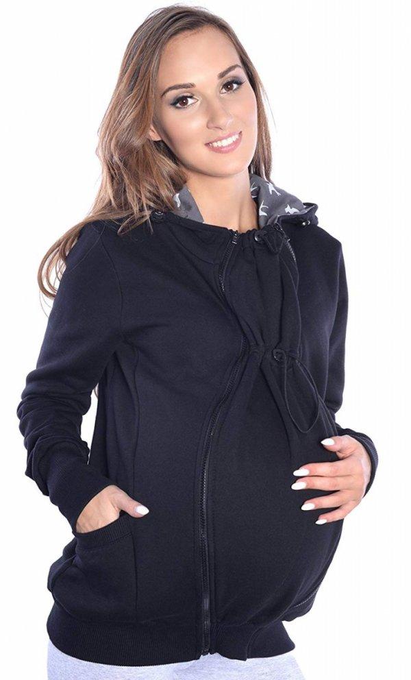 3 w1 bluza 3D ciążowa i do noszenia dziecka 4046/M50 czarny 2