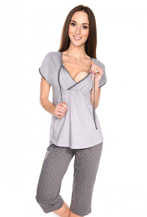 MijaCulture - piżama 3 w 1 ciążowa i do karmienia 4117/M77 melanż/szary 1