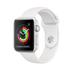 Apple Watch Series 3 42mm GPS Aluminium w kolorze srebrnym z paskiem sportowym w kolorze białym