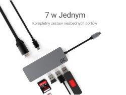GreenCell stacja dokująca USB-C Slim HUB 1x USB-C 3.1, 1x USB 3.0, 2x USB 2.0, HDMI 4K, czytnik kart SD & microSD