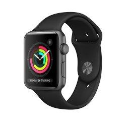 Apple Watch Series 3 42mm GPS Aluminium w kolorze gwiezdnej szarości z paskiem sportowym w kolorze czarnym