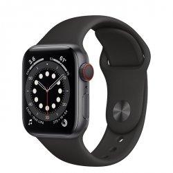 Apple Watch Series 6 40mm GPS + LTE (cellular) Aluminium w kolorze gwiezdnej szarości z paskiem sportowym w kolorze czarnym