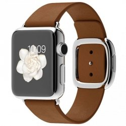 Apple Watch 38mm Stainless Stell Modern Buckle Brown Leather