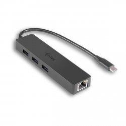 i-tec USB-C Slim 3-portowy HUB z adapterem Gigabit Ethernet, USB 3.0 do RJ-45, kompatybilny z Thunderbolt 3