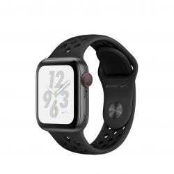 Apple Watch Nike+ Series 4 / GPS + LTE / Koperta 40mm z aluminium w kolorze gwiezdnej szarości / Pasek sportowy Nike w kolorze antracytu/czarnym