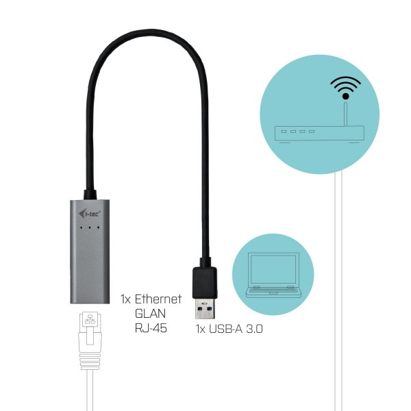 i-tec USB 3.0 Metal Gigabit Ethernet Adapter, USB 3.0/RJ-45