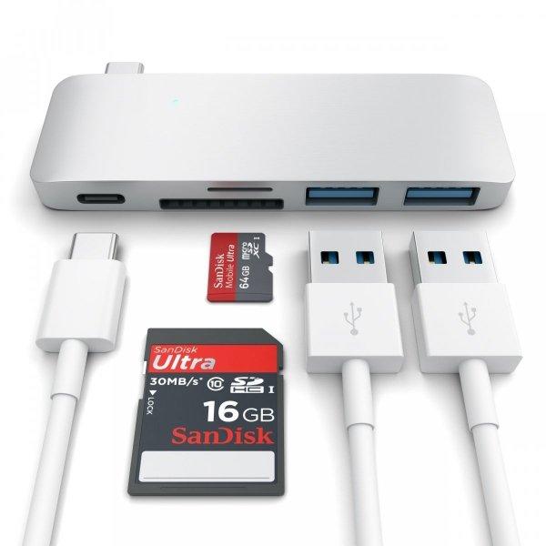 Satechi Pass Through USB-C HUB - USB 3.0 / USB-C (PD) / SD / microSD Silver