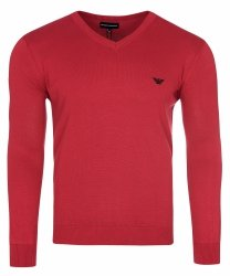 Emporio Armani sweter męski gładki czerwony