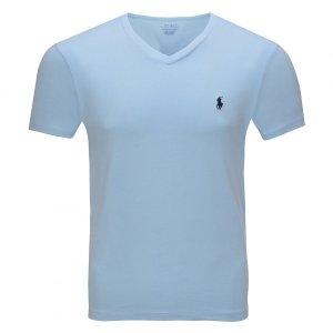 Polo Ralph Lauren koszulka t-shirt męski V-neck slim fit błękitna