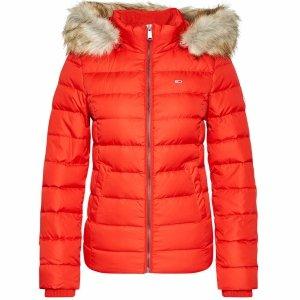 Tommy Jeans puchowa kurtka damska zimowa czerwona Basic Dowm
