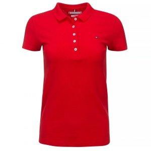 Tommy Hilfiger koszulka polo polówka damska Slim Fit czerwona