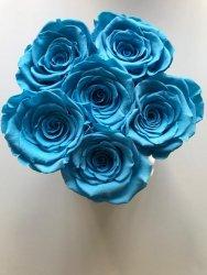 Niebieskie jasne żywe wieczne róże w małym białym boxe