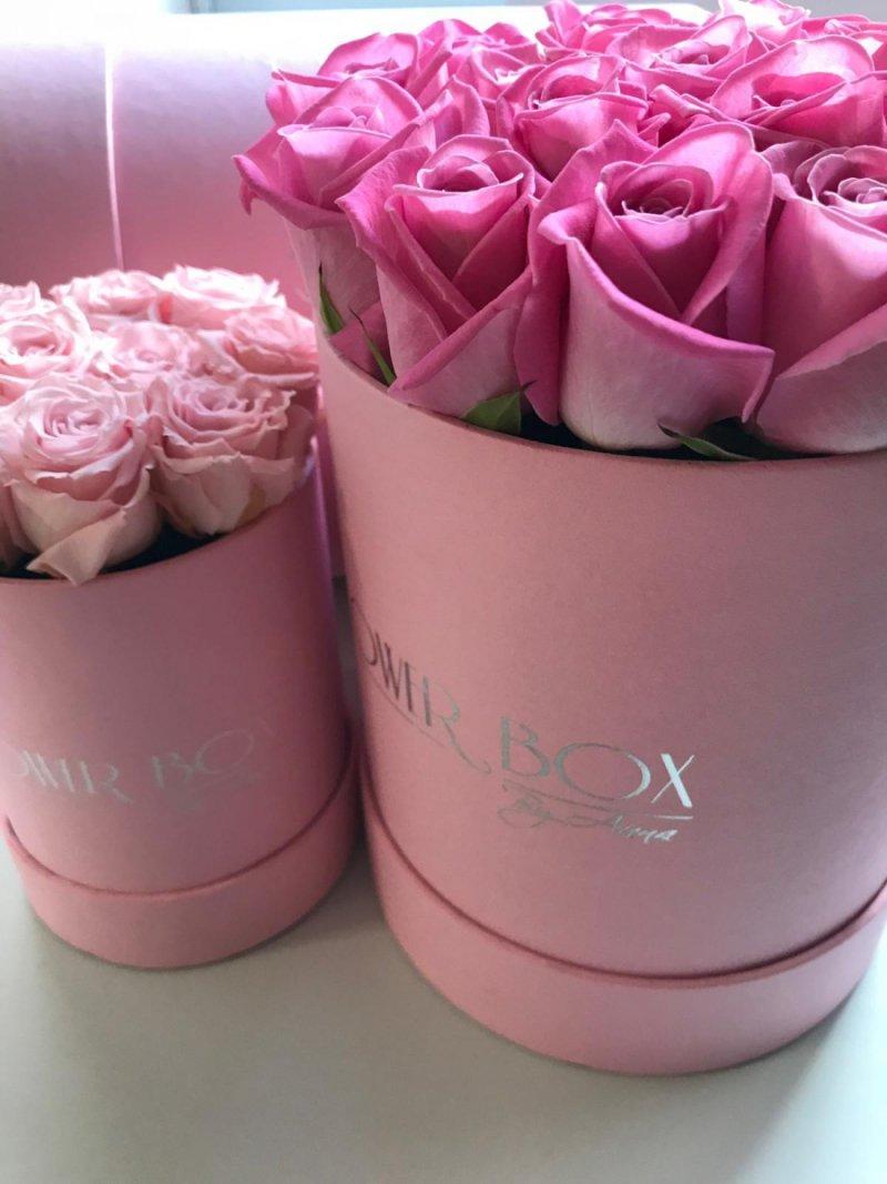 Różowe żywe ŚWIEŻE róże w średnim różowym boxie