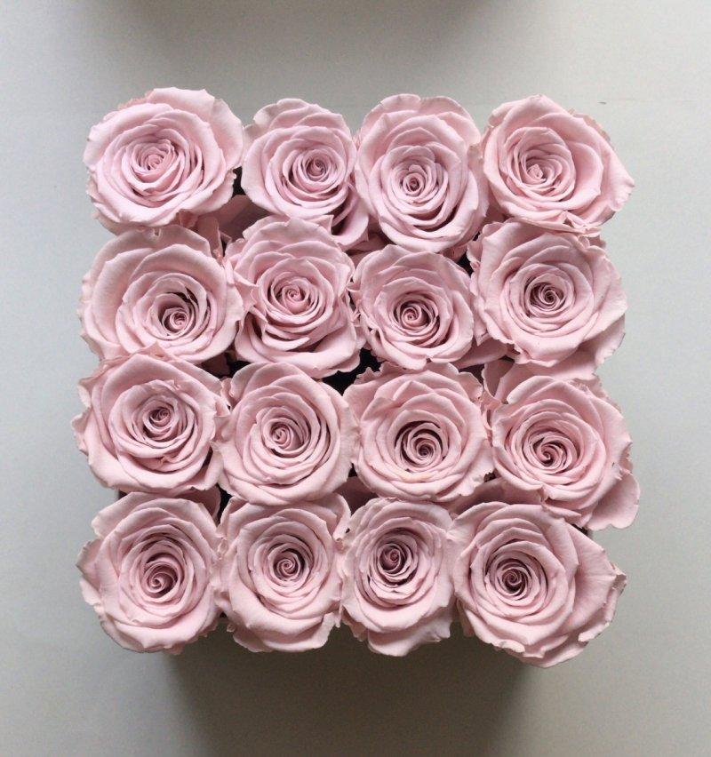 Pudrowe różowe żywe BRIDAL PINK WIECZNE róże w kwadratowym białym boxie