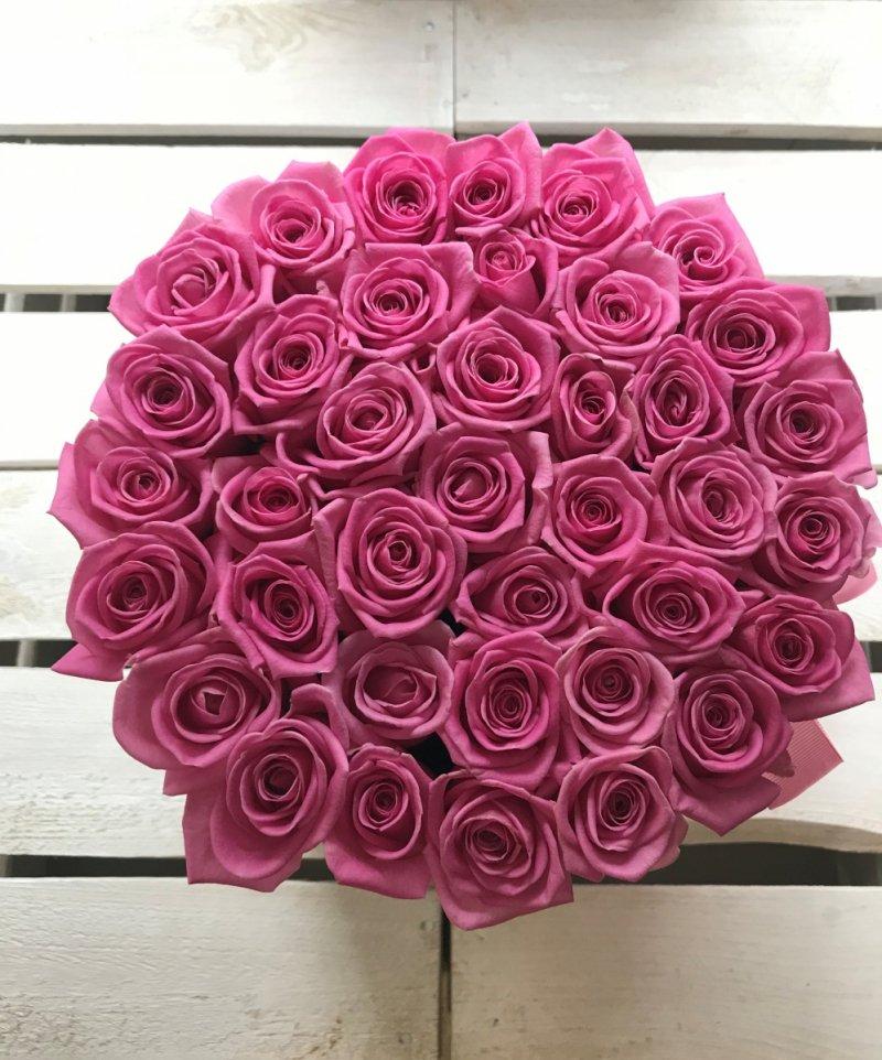 Różowe żywe róże w dużym białym boxie