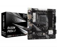 Płyta główna B450M PRO4-F AM4 4DDR4 DVI/HDMI/VGA 4SATA3 M.2 micro ATX