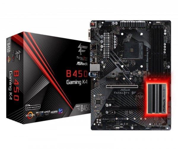 Płyta ASRock Fatal1ty B450 Gaming K4 /AMD B450/DDR4/SATA3/M.2/USB3.0/PCIe3.0/AM4/ATX