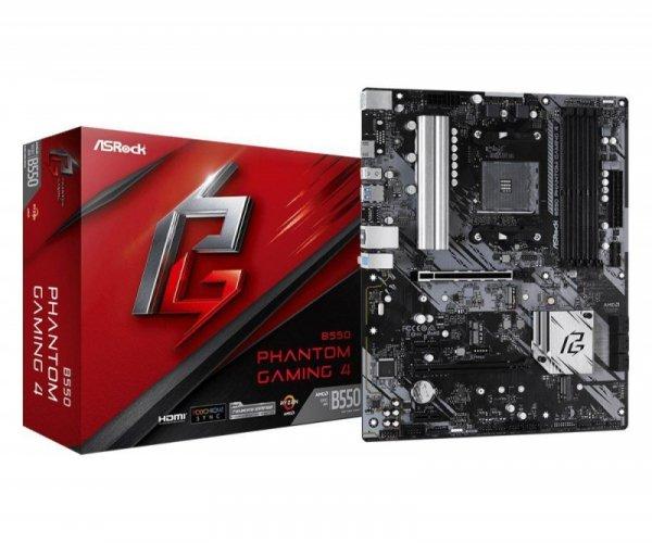 Płyta ASRock B550 Phantom Gaming 4 /AMD B550/DDR4/SATA3/M.2/USB3.1/PCIe4.0/AM4/ATX