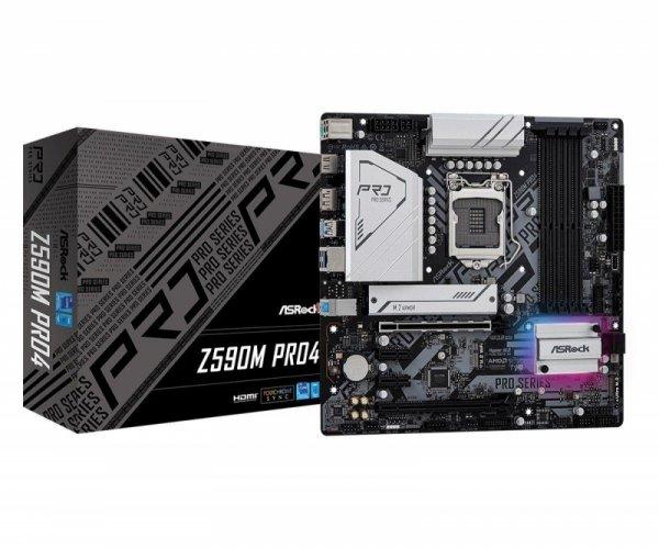 Płyta ASRock Z590M Pro4 /Z590/DDR4/SATA3/M.2/USB3.1/PCIe4.0/s.1200/mATX