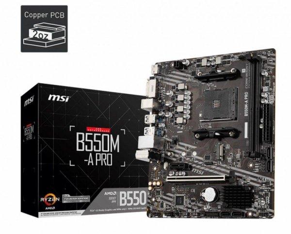 Płyta MSI B550M-A PRO /AMD B550/DDR4/SATA3/M.2/USB3.1/PCIe4.0/AM4/mATX