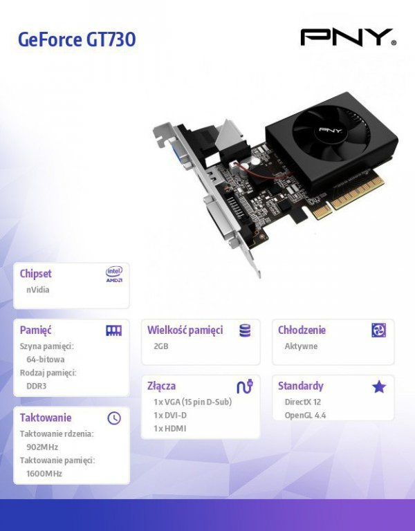 GeForce GT730 2GB DDR3 64bit DVI/VGA/HDMI