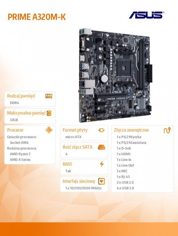 Płyta główna PRIME A320M-K AM4 2DDR4 USB3/HDMI/VGA M.2 uATX