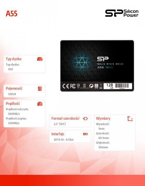 "Dysk SSD Ace A55 128GB 2,5"" SATA3 550/420 MB/s 7mm"