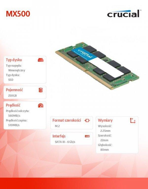 MX500 250GB M.2 Sata3 2280 560/510 MB/s