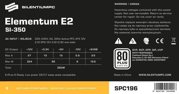 Zasilacz Elementum E2 SI 350W (80+ EU, 1xPEG, 120mm)