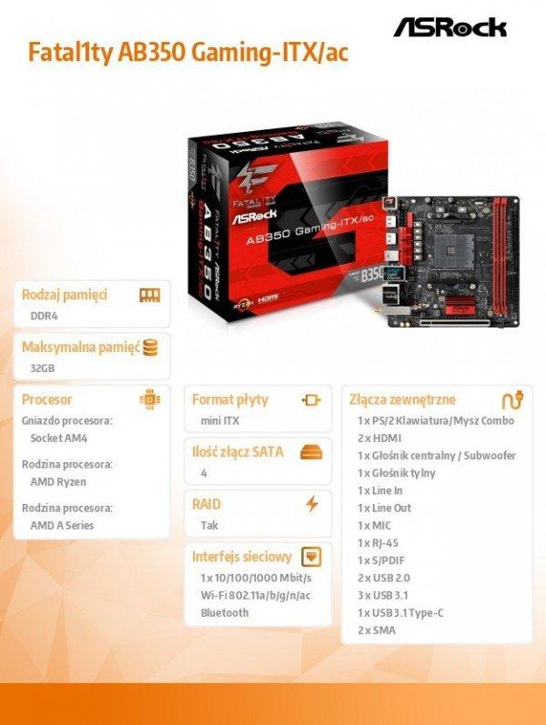 Płyta główna Fatal1ty AB350 Gaming-ITX/ac AM4 2DDR4 HDMI M.2 Mini-ITX