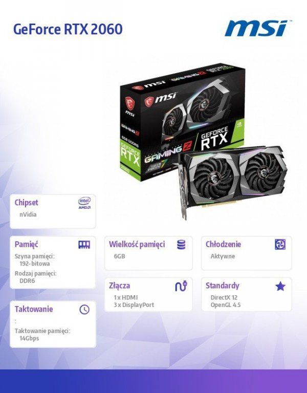 Karta graficzna GeForce RTX 2060 GAMING Z 6GB GDDR6 192bit 3DP/HDMI