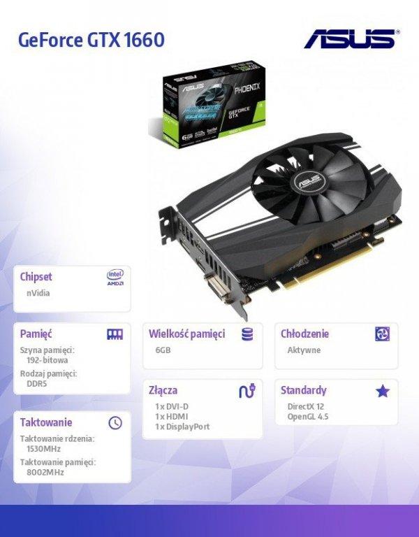Karta graficzna GeForce GTX 1660 DVI-D/HDMI/DP