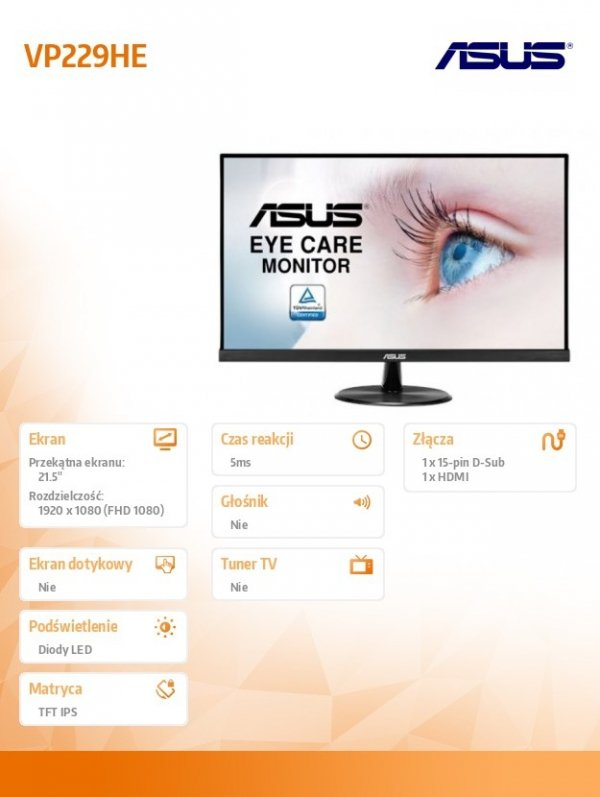 Monitor 21.5 cala VP229HE