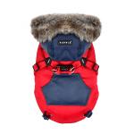 Zimowa, czerwona kurtka z kapturem i szelkami  Orson od Puppia