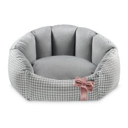 Bed Finessa grey with pink bow