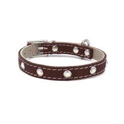 Luxury collar GLAMOR brown with zirconia rainbow