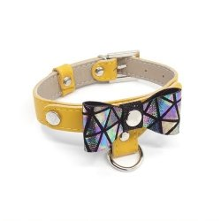 Luxurious PRESTIGE collar - yellow for small dogs