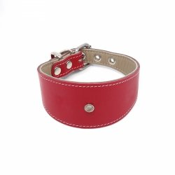 Leather collar GLAMOUR red for greyhounds