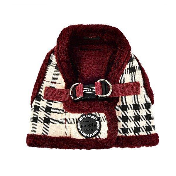 ocieplane szelki - kamizelka w beżowo-czerwoną kratkę od Puppia