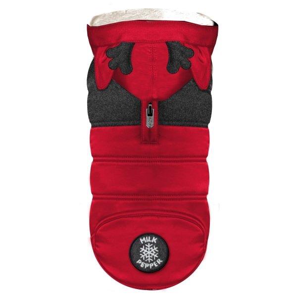 puchowa, czerwona kurtka zimowa dla psa od Milk&Pepper