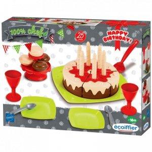 Zestaw urodzinowy z tortem i akcesoriami 25 elementów Ecoiffier