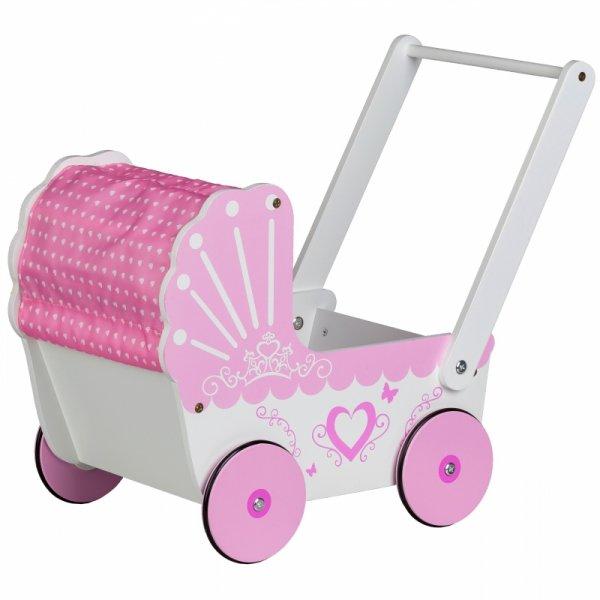 Drewniany wózek dla lalek z daszkiem Ecotoys