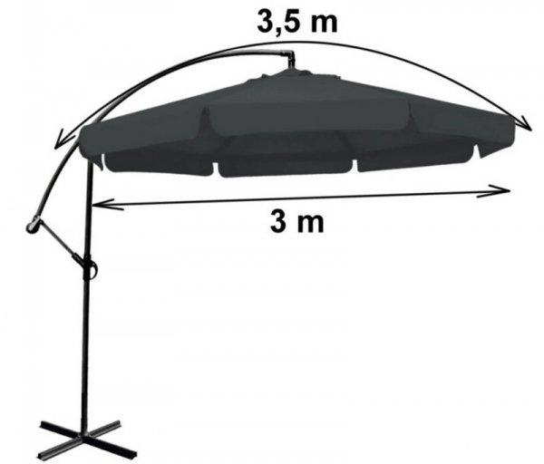Duży szary parasol ogrodowy składany 350 cm