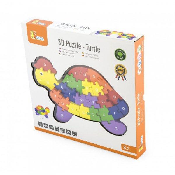 Viga Drewniane Puzzle 3D Edukacyjna Układanka Alfabet Cyferki Żółw