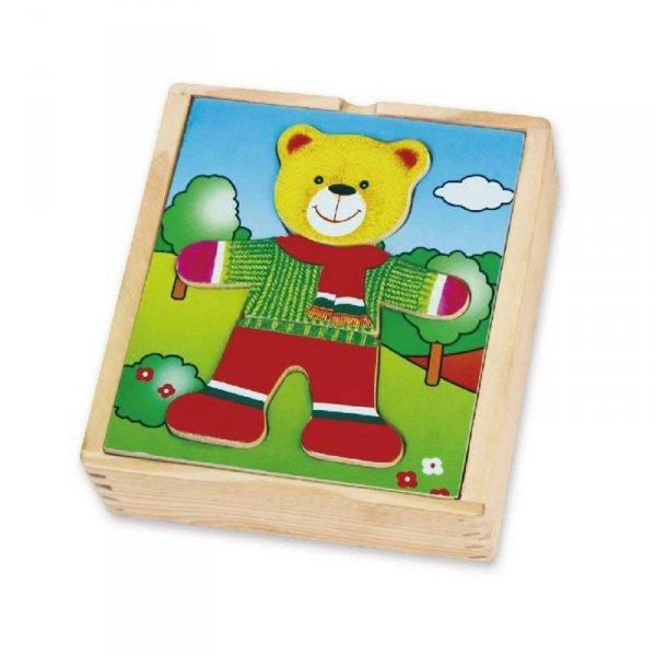 Viga Drewniane Puzzle Układanka Edukacyjna Ubierz Misia Chłopca