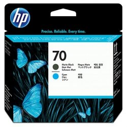 HP oryginalny głowica drukująca C9404A, No.70, matte black/cyan, HP Photosmart Pro B9180, Designjet Z2100, Z3100