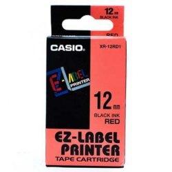 Casio oryginalna taśma do drukarek etykiet. Casio. XR-12RD1. czarny druk/czerwony podkład. nielaminowany. 8m. 12mm