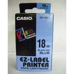 Casio oryginalna taśma do drukarek etykiet. Casio. XR-18BU1. czarny druk/niebieski podkład. nielaminowany. 8m. 18mm